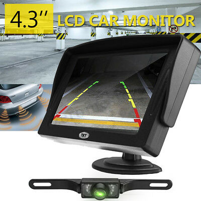 4.3'' LCD Car Rear View Monitor With Night Vision Reversing Camera Waterproof