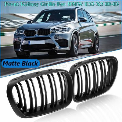 2 X Matte Black Front Kidney Grille Grills Double Slat For BMW E53 X5 2000-2003