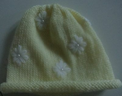 Lovely Hand Knitted Baby Hat with Beads & Flowers, Lemon, 0-6 mths, BNWOT
