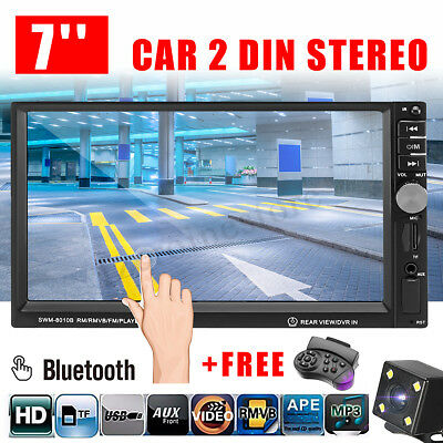 7'' Double 2DIN Car Stereo Radio MP5 MP3 Player Head Bluetooth with Cameras