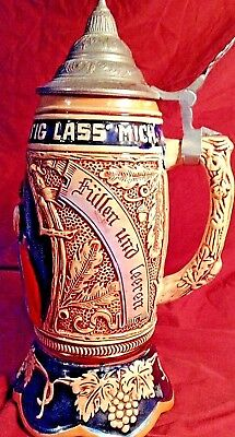Beer Stein Rare Old Vintage  Antique German  Wind Up Musical Lustig Fass Mich