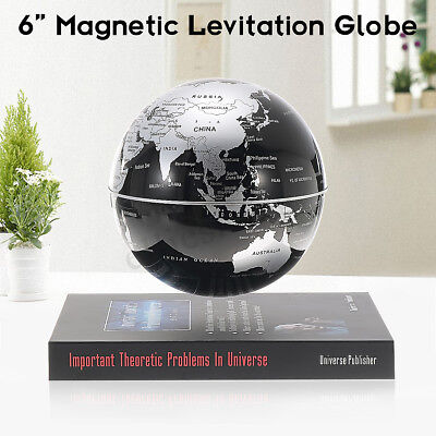 6'' Rotating Magnetic Levitating Ball Floating Earth Globe World Map Book