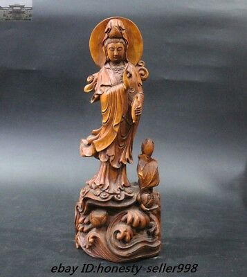 Old Chinese Buddhism Boxwood Wood Carved Lotus Guan yin Kwan-yin Buddha Statue