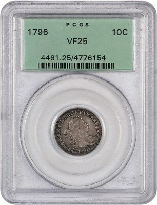 1796 10c PCGS VF25 (OGH) - Bust Dime - Scarce Early Dime, Old Green Label