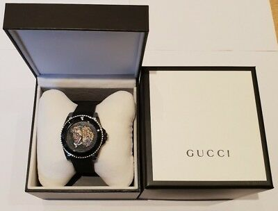 18317aa83d0 Gucci Gents Dive Stainless Steel Tiger Dial Black Rubber Strap Watch  YA136318