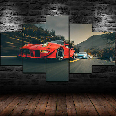 Framed Porsche 911 Carrera 4s gulf Sports Car Canvas Print Wall Art Home 5 Piece