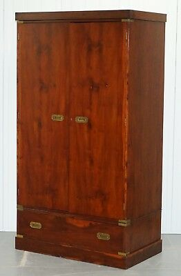 Rare 1940's Harrods London Military Campaign Wardrobe Mahogany & Brass Drawers