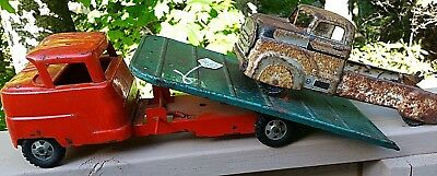 Antique Vintage 1940's Structo Old Tin Toy Rare Flatbed Truck