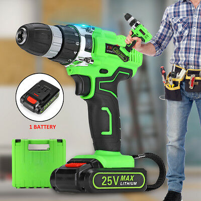 25V 2-Speed Electric Cordless Drill Driver Screwdrive LED Work+Li-Ion Battery