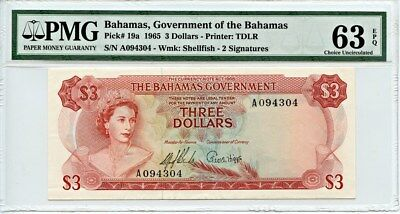 Bahamas: 1965 $3 PMG 63 EPQ (P-19a) - Misc World Currency