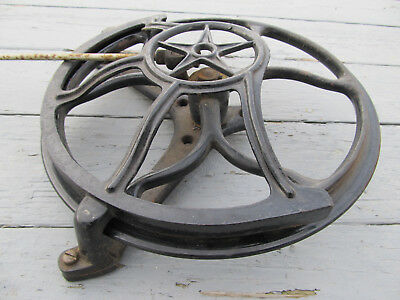 Antique Cast Iron Treadle Flywheel with Rod Mounting Bracket & Star Belt Guard