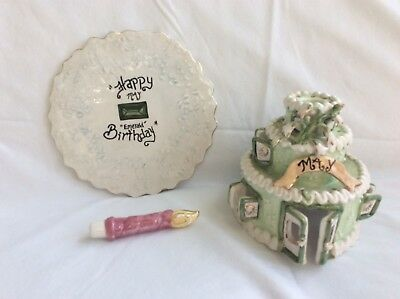 EUC Blue Sky Clayworks by Heather Goldminc Happy Birthday Cake House May Emerald