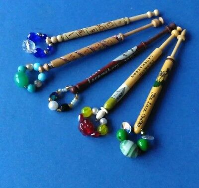 5 Wooden Lace Bobbins with Inscriptions Lacemakers. Spangles.
