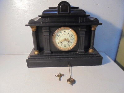 Antique Japy Freres Roehm & Son Detroit Slate/Marble Shelf Mantel Clock Works