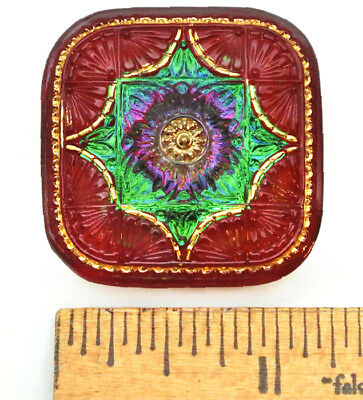 XL 32mm Vintage Czech Glass FOCAL SQUARE RADIANT Red Green AB CHRISTMAS Button