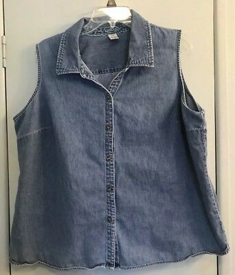69c63ef233936 VINTAGE CHEROKEE WOMENS Shirt Plus Size 22W Denim Blue Sleeveless ...