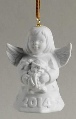 Goebel ANGEL BELL ORNAMENT 2014 White Angel With Snowman 10305480