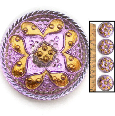 GLOWING 32mm Vintage Czech Mirror Back PURPLE GOLD PAISLEY Glass Buttons 4pc