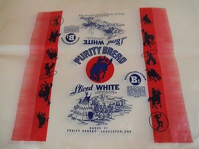 Lot of 25 Vintage Purity Bread WRAPPERS - COWBOY & INDIAN Theme - PENDLETON, OR