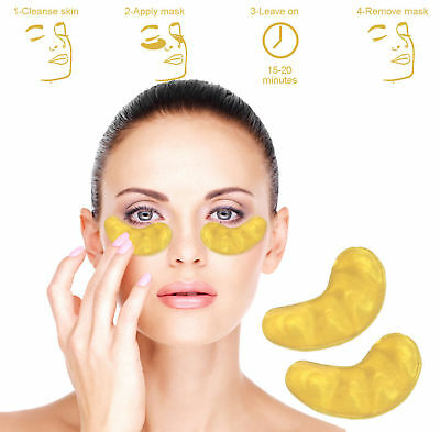 10 Pair Collagen EYE Crystal 24k GOLD Masks Premium Eye Skin Anti Ageing Wrinkle