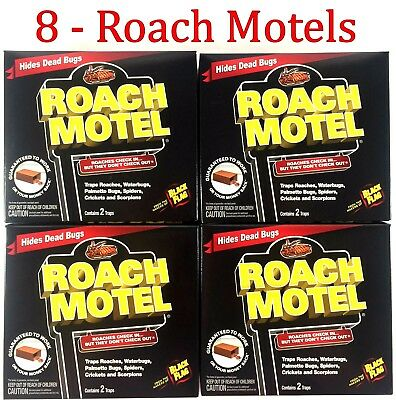 8 Traps Black Flag Roach Motels Cockroach Killer bait Glue Trap Insects Spiders