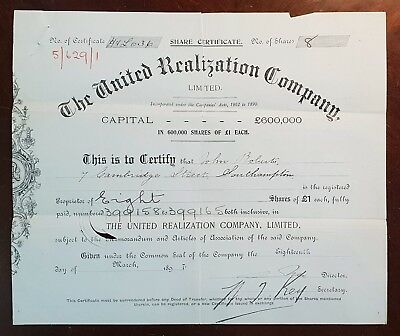 1897 The United Realization Company Limited Share Certificate