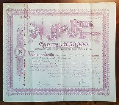 1910 Mrs. Bull Limited Share Certificate. Horatio Bottomley Facsimile Signature