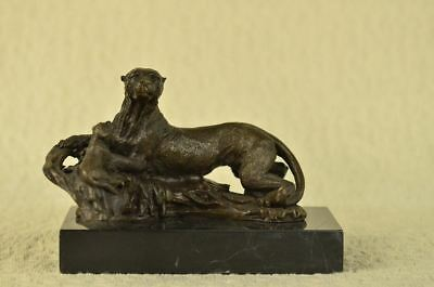 """Bronze Sculpture of a Cheetah or Spotted Leopard and Cub 6.5"""" x 9"""""""