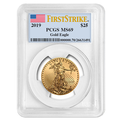 2019 $25 American Gold Eagle 1/2 oz. PCGS MS69 First Strike Flag Label