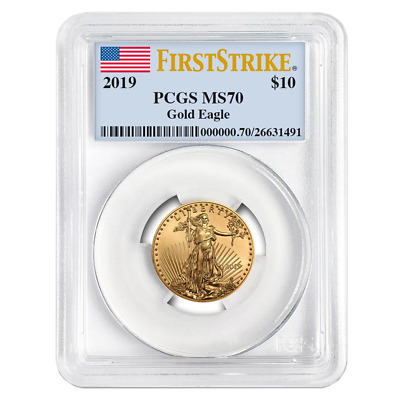 2019 $10 American Gold Eagle 1/4 oz. PCGS MS70 First Strike Flag Label