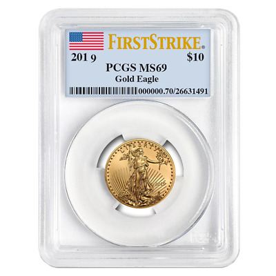 2019 $10 American Gold Eagle 1/4 oz. PCGS MS69 First Strike Flag Label