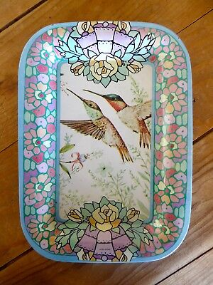 Vintage Hummingbird Bird Tip Tray Metal Tin - 7""
