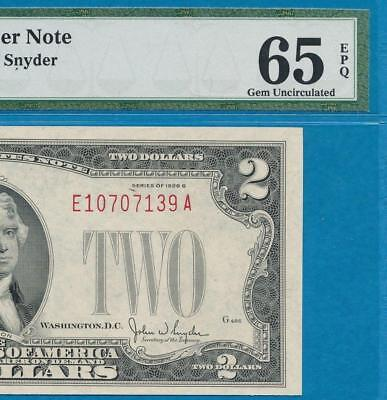 $2.00 1928-G  Red Seal  Pmg  Gem  New 65Epq United States Note