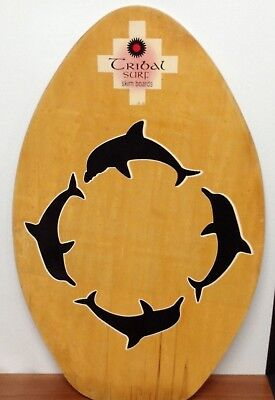 """RARE! Vintage Tribal Surf Wooden Skim Board NICE!  Aprox 30"""" x 19"""" Made in USA!"""