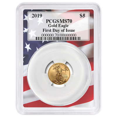2019 $5 American Gold Eagle 1/10 oz. PCGS MS70 FDOI Flag Frame