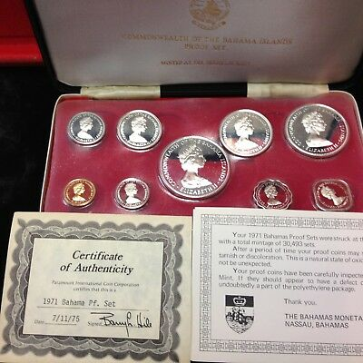 1971 BAHAMAS ISLANDS  9 Coin Proof Set with SILVER