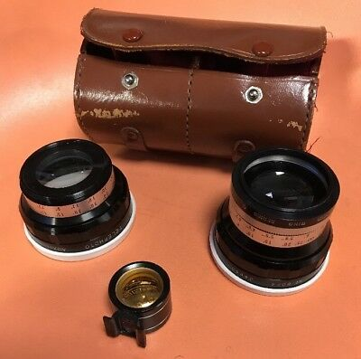 Kaligar Bayonet Aux Wide Angle #8034, Telephoto #7882 Lenses, Viewfinder & Case