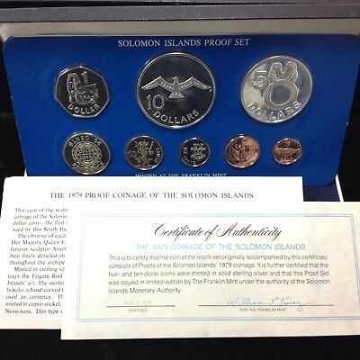 1979 Solomon Islands 8-Coin Proof Set with SILVER w/Box and COA