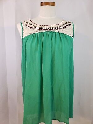 36b8c8be30888d UMGEE USA SHEER Green Floral Lace Cold Shoulder Bell Sleeves Tunic ...