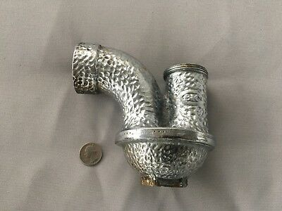 Antique Sink Drain P Trap Chrome Brass Plumbing Hammered  Deco vtg BIC 180-18J
