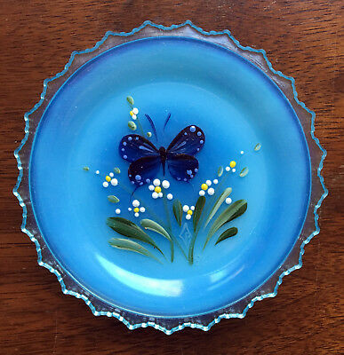 Handpainted Butterfly - Pairpoint Glass Cup Plate Cape Cod - Blue Opalescent R2