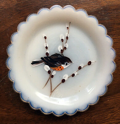 Handpainted Bird - Pairpoint Glass Cup Plate Cape Cod - White Opalescent R11