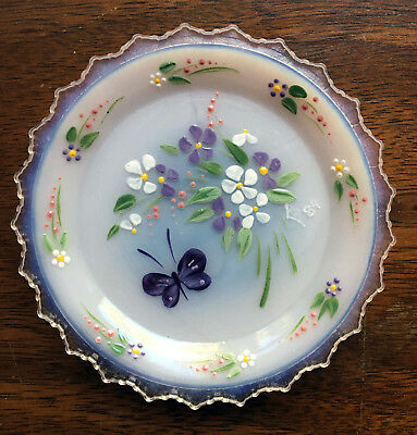 Handpainted Butterfly - Pairpoint Glass Cup Plate Cape Cod - White Opalescent R3
