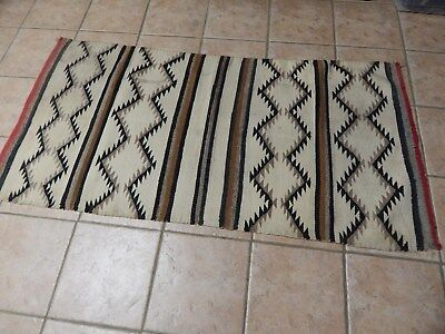"""AUTHENTIC ANTIQUE 1920's  NAVAJO INDIAN  HAND WOVEN RUG 64"""" X 31"""""""