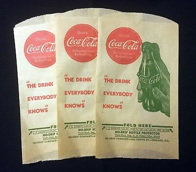 "Coca-Cola Vintage 1940's ""no-Drip Bottle Protector"" Bags - Set Of 3"