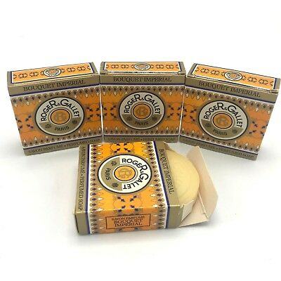 4 Roger & Gallet Bouquet Imperial Perfumed Soap Mini in Boxes .9 Oz 25 g Each