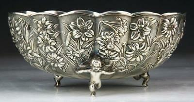 19th C. Exceptional Japanese Silver Center Bowl.