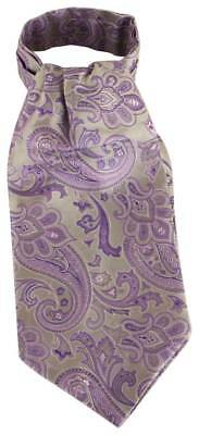 Knightsbridge Neckwear Paisley Silk Cravat - Green/Purple