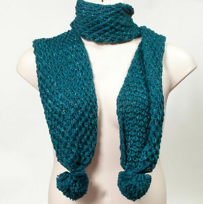 Rampage Women's Winter Accessories Knit Pom Pom Scarf Teal Metallic MSRP $36