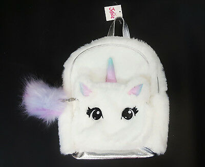 NWT Justice Kids Girls Faux Fur Unicorn Fluffy Mini Backpack Carry On Purse